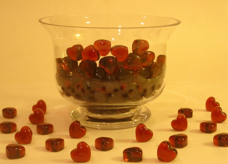 Miniature Red Glass Hearts