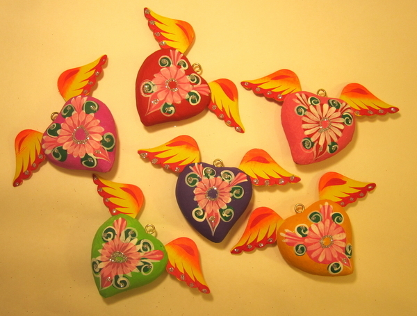 Large Sacred Heart with Flower | Paper Mache Hearts