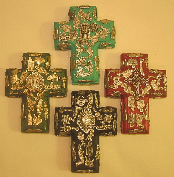 Small Cross with Milagros | Mexican Crosses, Assorted