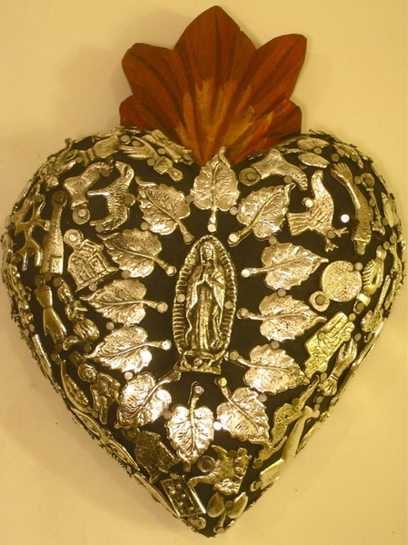 Sacred Heart with Milagros, Black, Large | Milagro Woodcarvings