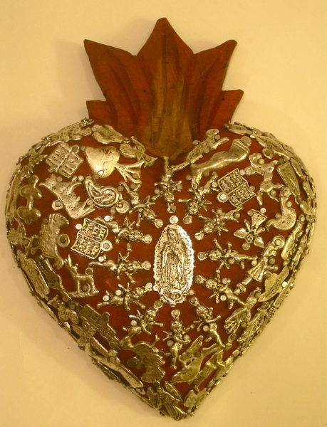 Sacred Heart with Milagros, Red, Large | Milagro Woodcarvings
