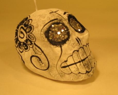 Calaverita, Black and White | Day of the Dead Ornaments, Paper Mache