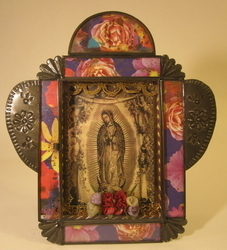Large Antiqued Virgin Nicho, Sepia | Nichos & Tin Based Designs