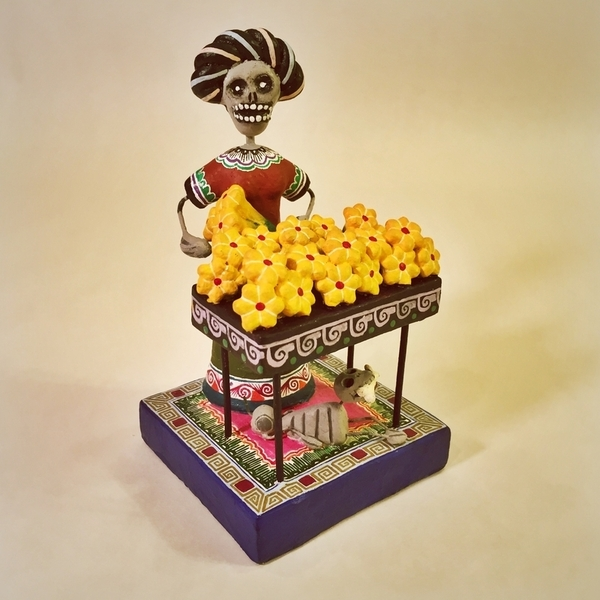 Frida Selling Cempazuchitl | Day of the Dead Clay Work