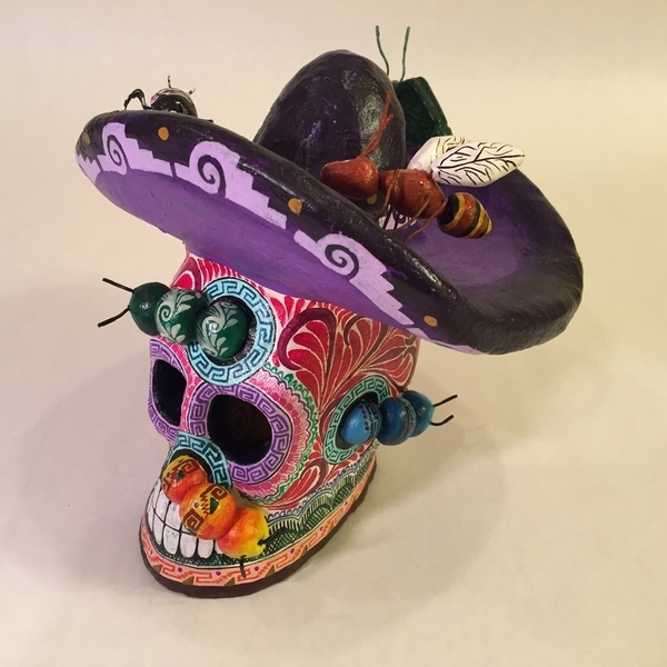 Skull with Sombrero   Day of the Dead Clay Work