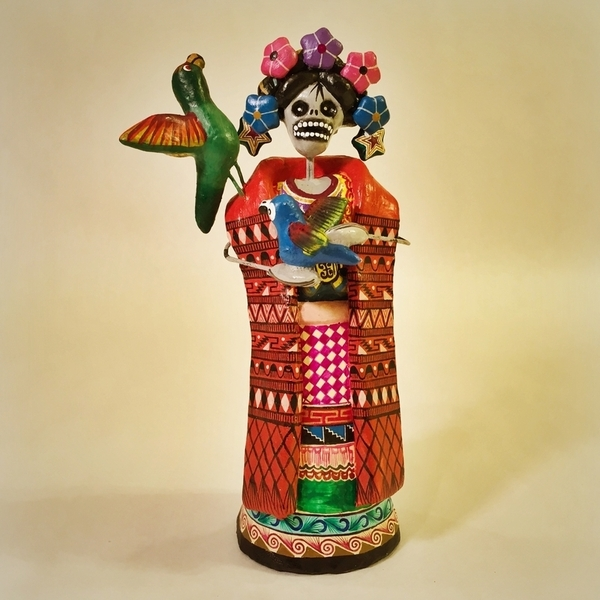 Frida with Parrots | Day of the Dead Clay Work