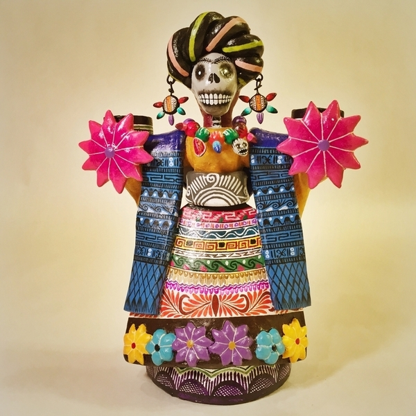 Frida Candelabra | Day of the Dead Clay Work