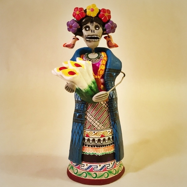 Frida with Lillies | Day of the Dead Clay Work