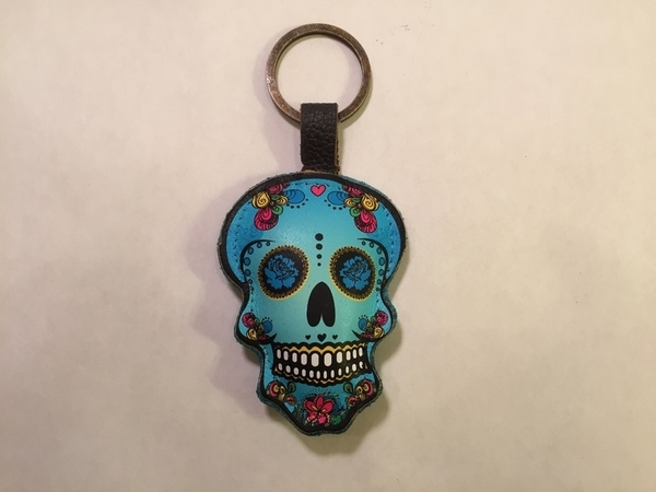Leather Catrina Keychain, Turquoise | Day of the Dead Fashion and Accessories