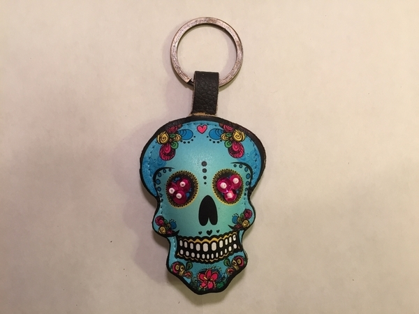 Leather Catrina Keychain, Turquoise, Beaded Eyes | Leather Coin Purses and Keychains