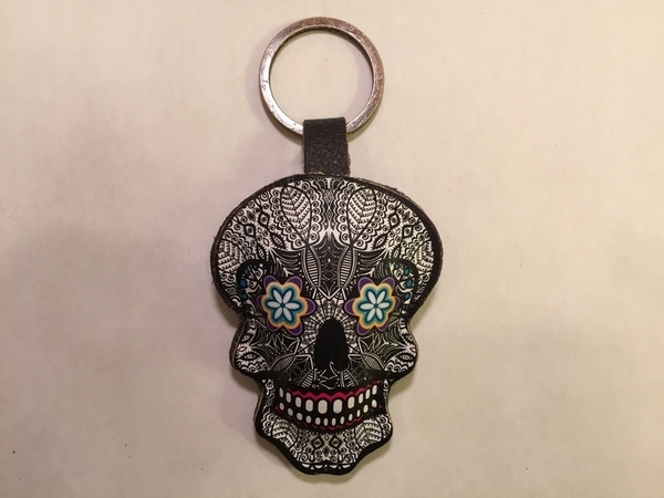 Leather Catrina Keychain B/W | Leather Coin Purses and Keychains