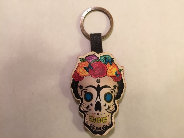 Leather Frida Muerta Keychain, Natural | Leather Coin Purses and Keychains