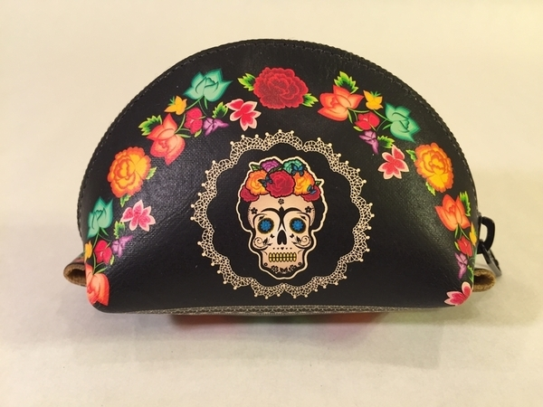Leather Frida Muerta Coin Purse, Black | Day of the Dead Fashion and Accessories