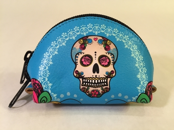 Leather Calavera Coin Purse, Turquoise | Day of the Dead Fashion and Accessories