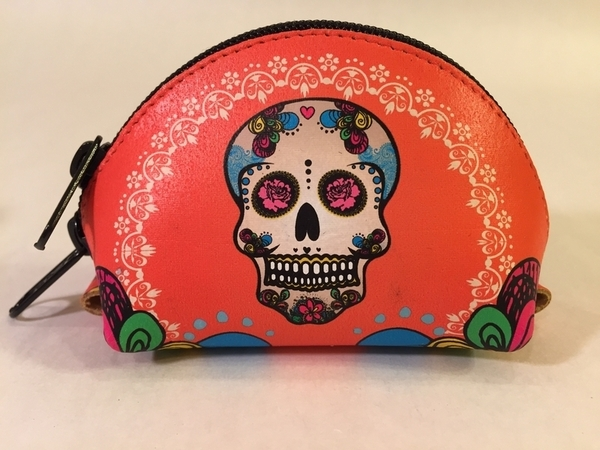 Leather Catrina Coin Purse, Orange | Leather Coin Purses and Keychains
