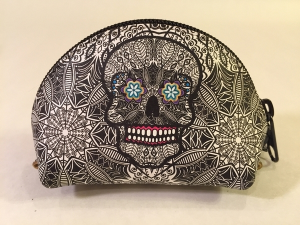 Leather Calavera Coin Purse, B/W | Day of the Dead Fashion and Accessories