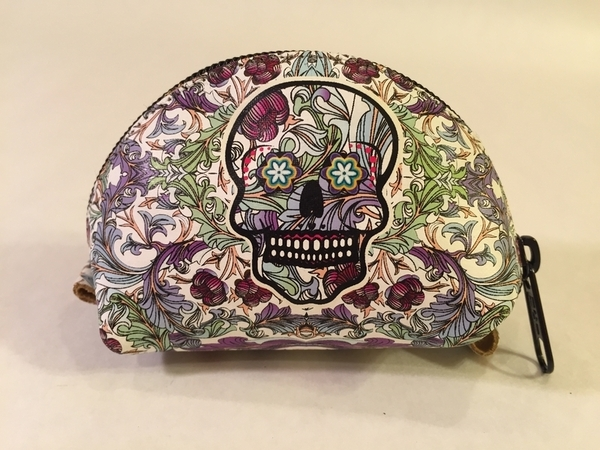 Leather Catrina Coin Purse, Floral | Day of the Dead Fashion and Accessories