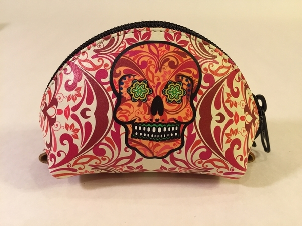 Leather Calavera Coin Purse, Flames | Day of the Dead Fashion and Accessories