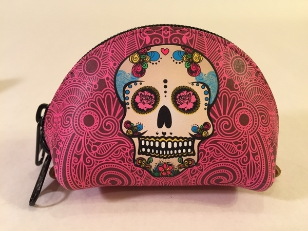 Leather Calavera Coin Purse, Pink | Day of the Dead Fashion and Accessories