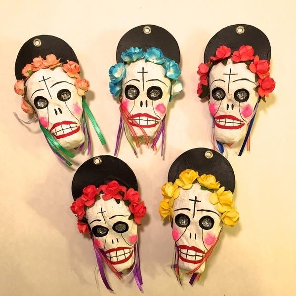 Mini Catrina Ornaments | Day of the Dead Ornaments, Paper Mache