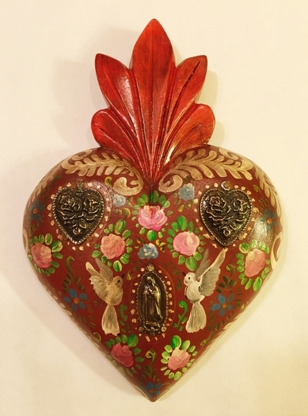 Hand Painted Heart with Doves | Milagro Woodcarvings