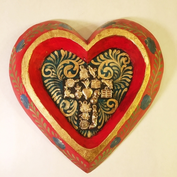 Hand Painted Heart with Cross | Milagro Woodcarvings