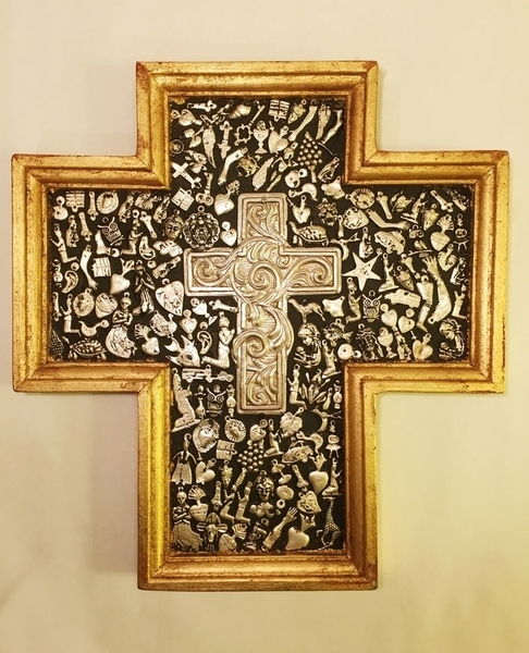 Gilded Cross with Milagros and Silver Plated Cross | Milagro Woodcarvings