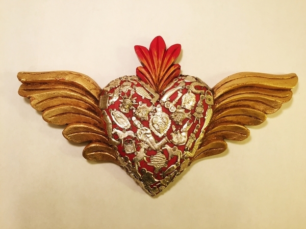 Sacred Heart with Wings and Milagros, Red | Milagro Woodcarvings