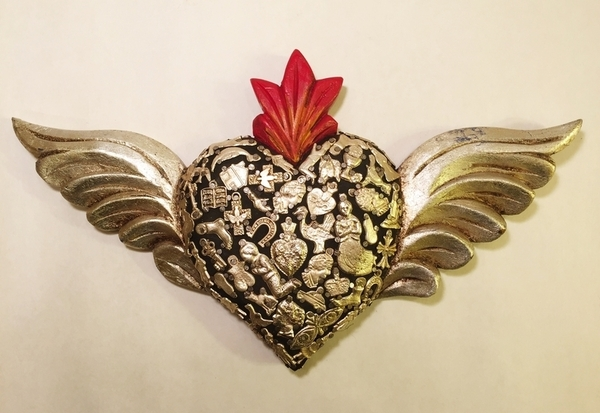Sacred Heart with Wings and Milagros, Black | Milagro Woodcarvings