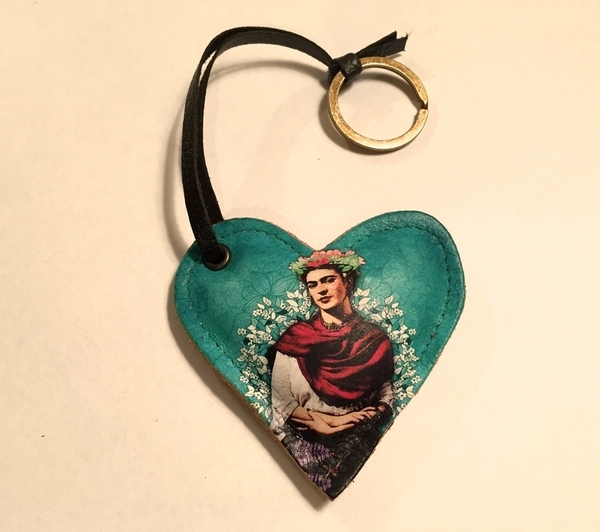 Heart with Frida Forever, Green   Heart Keychains