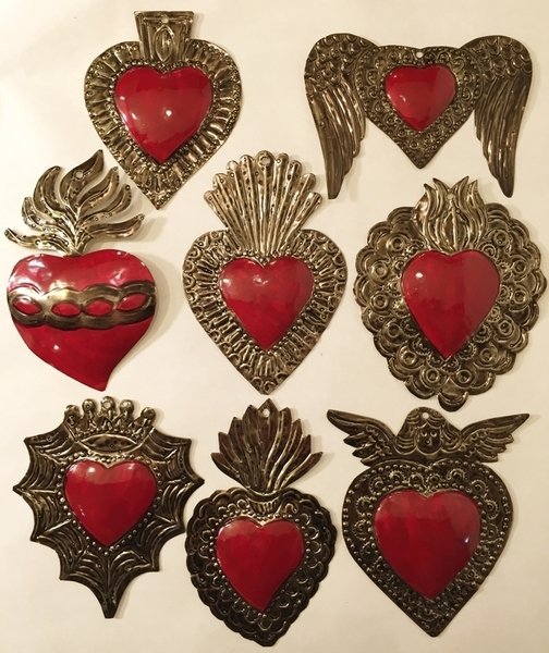 Set of 10 Tin Sacred Heart Ornaments, Traditional | Religious Nichos and Tin Decor