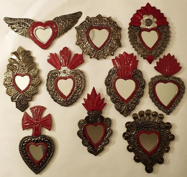 Set of 10 Tin Sacred Heart with Mirror Ornaments, Traditional | Tin Sacred Hearts