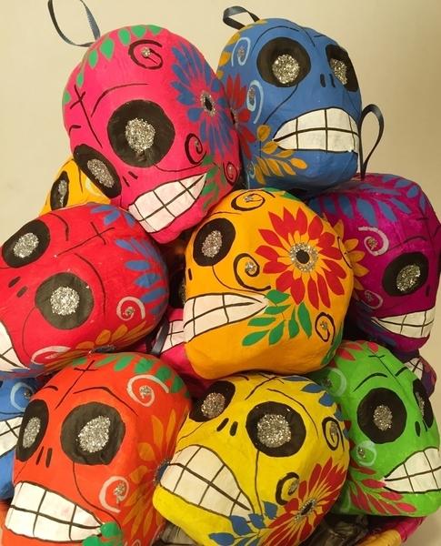 Colorful Calavera | Day of the Dead Ornaments, Paper Mache