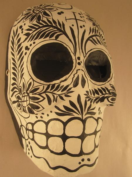 Black and White Calavera Mask | Day of the Dead Ornaments, Paper Mache