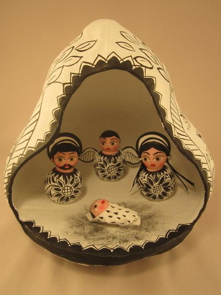 Nativity in Gourd, B/W |  Sale Items