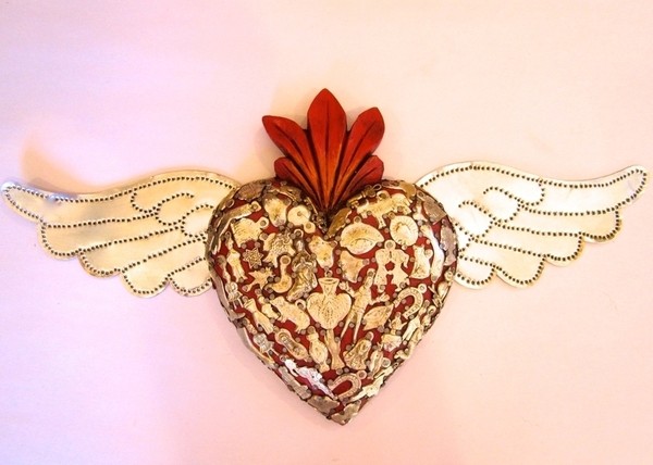 Sacred Heart with Tin Wings, Red | Milagro Woodcarvings
