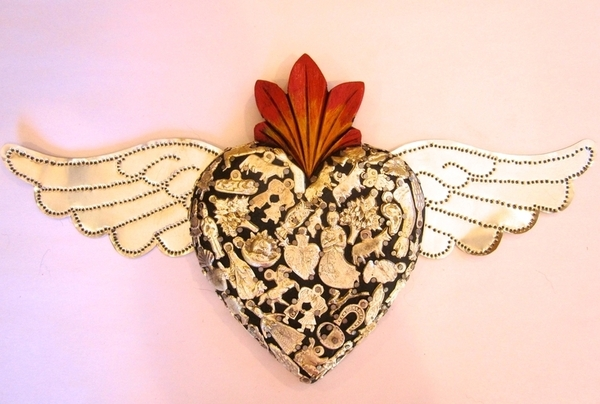 Sacred Heart with Tin Wings, Black | Milagro Woodcarvings