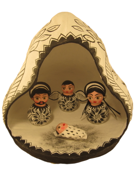 Nativity in Gourd, B/W | Mexican Nativity Sets