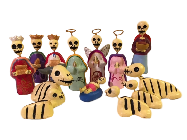 Day of the Dead Nativity Set   Day of the Dead Clay Work