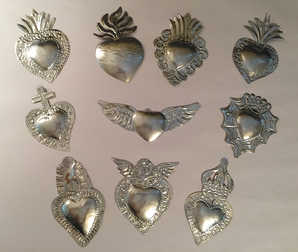 Set of 10 Tin Sacred Heart Ornaments, Natural | Religious Nichos and Tin Decor