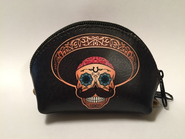 Leather Charro Coin Purse, Black   Day of the Dead Fashion and Accessories