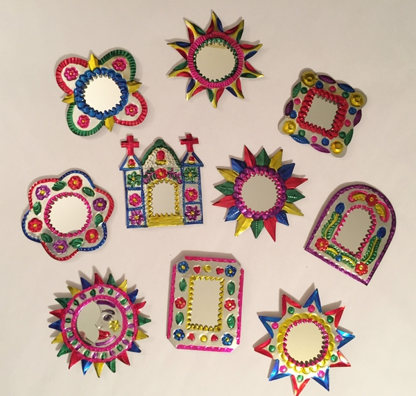 Set of 10 Assorted Colorful Mirrors | Religious Nichos and Tin Decor