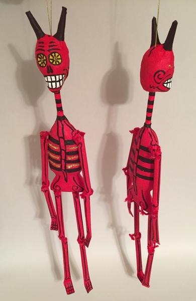 Lanky Devil   Day of the Dead Ornaments, Paper Mache