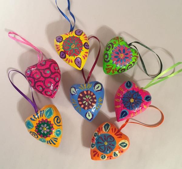 Small Heart Ornament, Glossy | Paper Mache Hearts