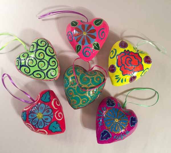 Large Heart Ornament, Glossy | Paper Mache Hearts