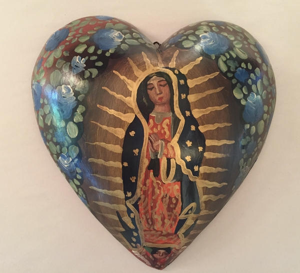 Heart with Hand Painted Guadalupe | Milagro Woodcarvings