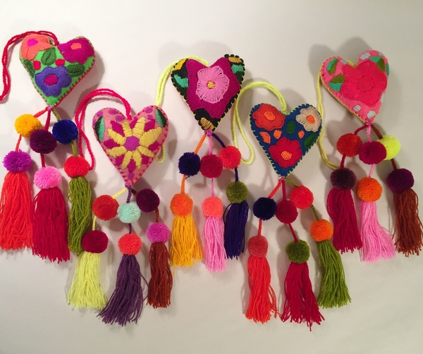 Heart Ornament with Triple Pompoms | Embroidered Hearts