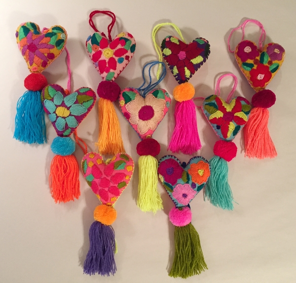 Heart Ornament with Single Pompom | Embroidered Ornaments