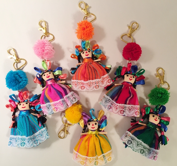 Mexican Maria Keychain With Pompom Mexican Maria Dolls