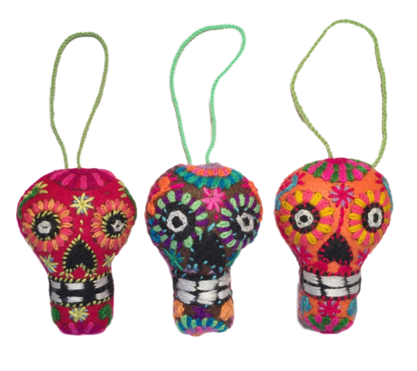 Embroidered Calavera Ornament, Small | Christmas Ornaments, Embroidered